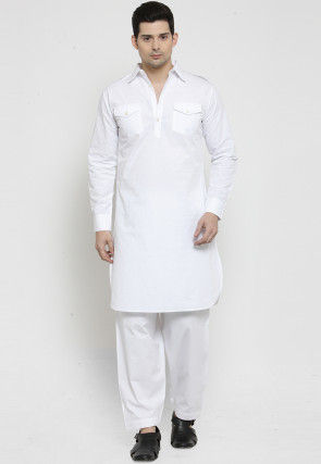 Solid Color Cotton Pathani Suit in White