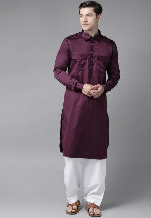 Solid Color Cotton Pathani Suit in Wine