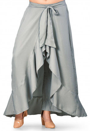 Solid Color Cotton Ruffled Palazzo in Grey