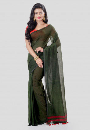 Solid Color Cotton Silk Saree in Dark Olive Green