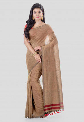 Solid Color Cotton Silk Saree in Light Brown