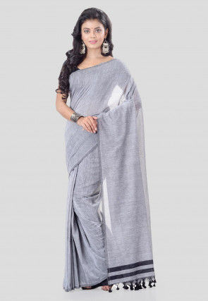 Solid Color Cotton Silk Saree in Light Grey