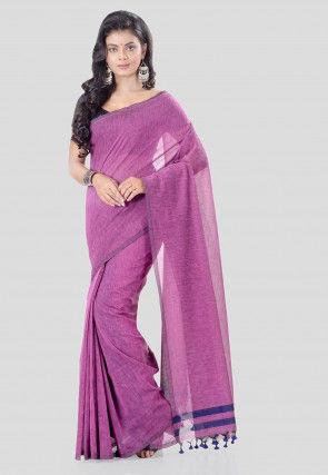Solid Color Cotton Silk Saree in Pink