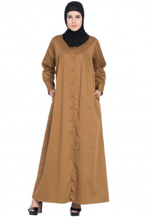 Solid Color Cotton Satin Front Open Abaya in Light Brown