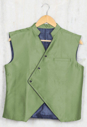 Solid Color Cotton Satin Kids Waist Coat in Dusty Green