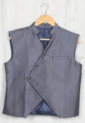 Solid Color Cotton Satin Kids Waist Coat in Grey