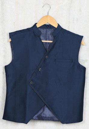 Solid Color Cotton Satin Kids Waist Coat in Navy Blue