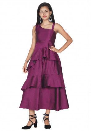 Solid Color Satin Ruffled Midi Dress in Magenta