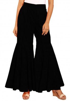 Solid Color Cotton Sharara in Black