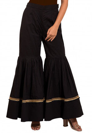 Solid Color Cotton Sharara in Black