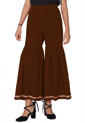 Solid Color Cotton Sharara in Brown