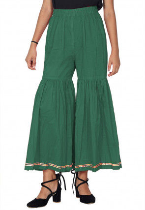 Solid Color Cotton Sharara in Dark Green