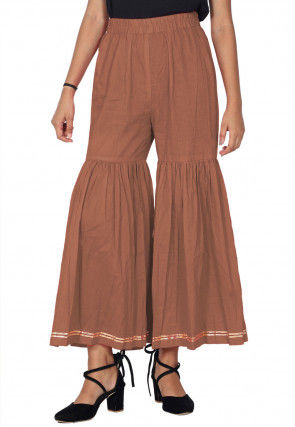 Solid Color Cotton Sharara in Dusty Peach