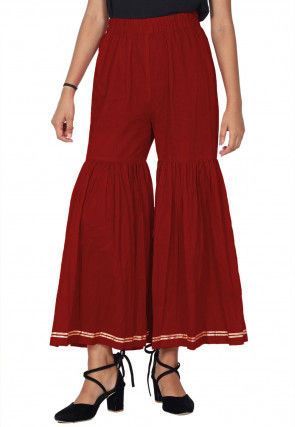 Solid Color Cotton Sharara in Red