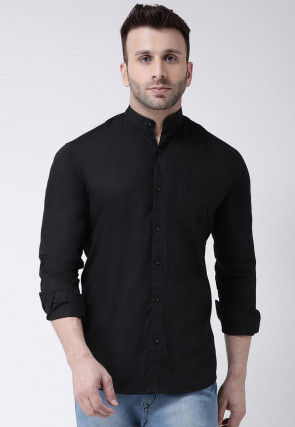 Solid Color Cotton Shirt in Black
