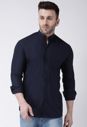 Solid Color Cotton Shirt in Navy Blue