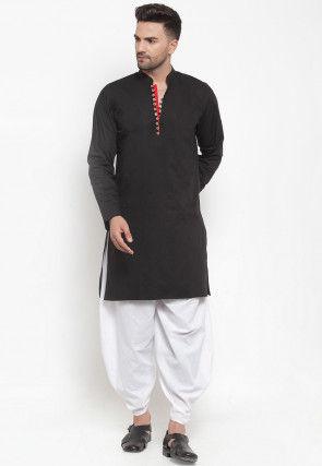 Solid Color Cotton Short Dhoti Kurta Set in Black