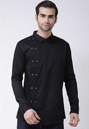 Solid Color Cotton Short Kurta in Black