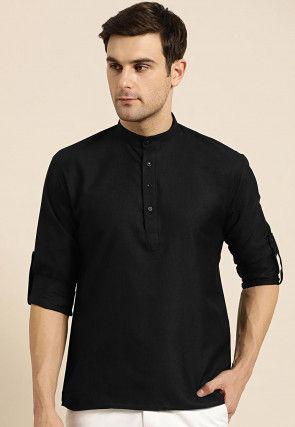 Solid Color Cotton Short Kurta in Black
