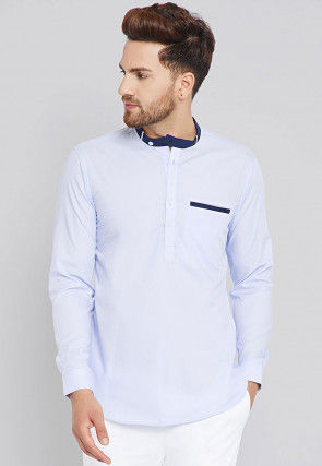 Solid Color Cotton Short Kurta in Light Blue