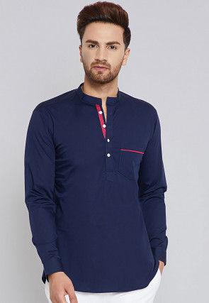 Solid Color Cotton Short Kurta in Navy Blue
