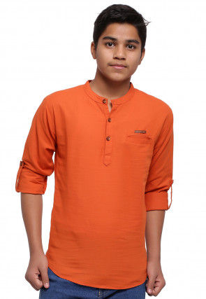 Solid Color Cotton Short Kurta in Orange