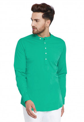 Solid Color Cotton Short Kurta in Teal Green