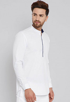 Solid Color Cotton Short Kurta in White