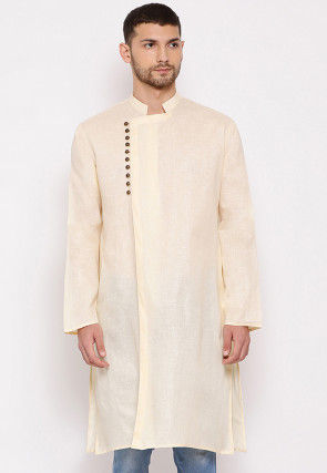 Solid Color Cotton Side Open Kurta in Light Beige