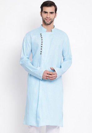 Solid Color Cotton Side Open Kurta in Light Blue