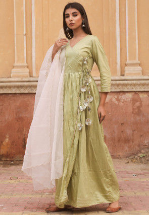 Solid Color Cotton Silk Angrakha Style Abaya Suit in Light Green
