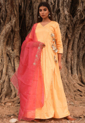 Solid Color Cotton Silk Angrakha Style Abaya Suit in Light Yellow