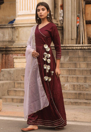 Solid Color Cotton Silk Angrakha Style Abaya Suit in Maroon