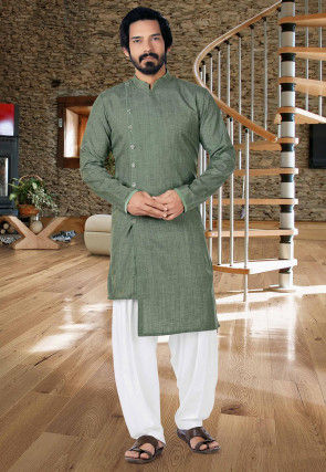 Solid Color Cotton Silk Asymmetric Kurta Set in Dusty Green