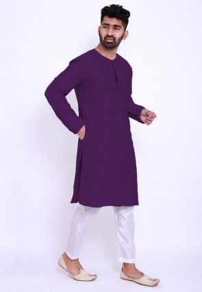Solid Color Cotton Silk Asymmetric Kurta Set in Purple