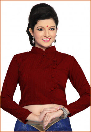 Solid Color Cotton Silk Blouse in Maroon