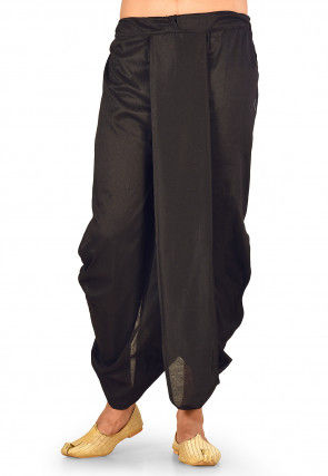 Solid Color Cotton Silk Dhoti in Black