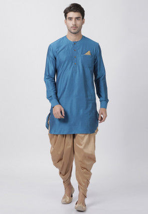 Solid Color Cotton Silk Dhoti Kurta in Blue
