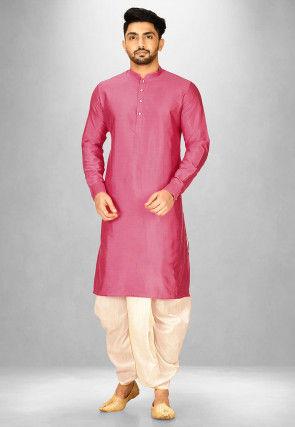 Solid Color Cotton Silk Dhoti Kurta in Dark Pink