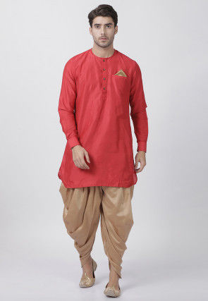 Solid Color Cotton Silk Dhoti Kurta in Red