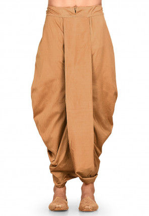 Solid Color Cotton Silk Dhoti Pant in Dark Beige