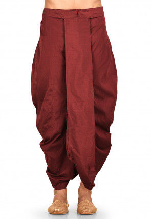 Solid Color Cotton Silk Dhoti Pant in Maroon