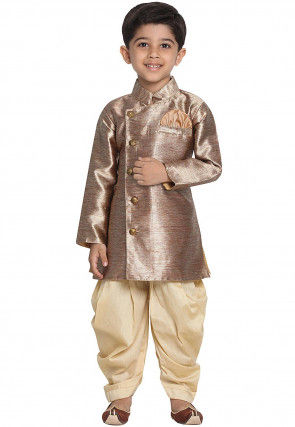 Solid Color Cotton Silk Dhoti Sherwani in Beige