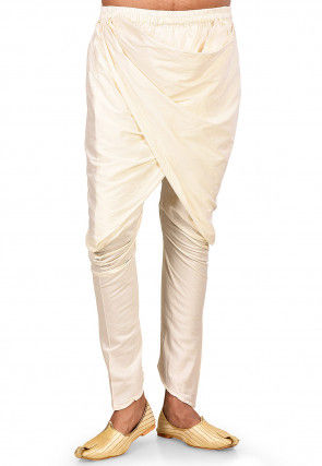 Solid Color Cotton Silk Harem in Off White