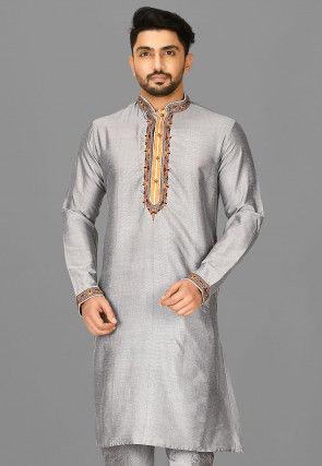 Solid Color Cotton Silk Kurta in Grey