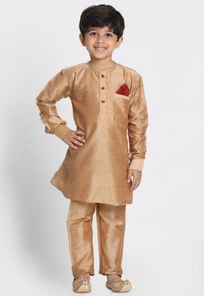 Solid Color Cotton Silk Kurta Set in Beige