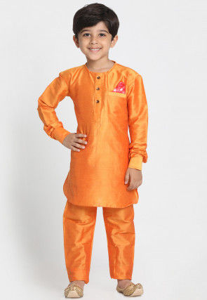 Solid Color Cotton Silk Kurta Set in Orange