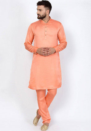 Solid Color Cotton Silk Kurta Set in Peach