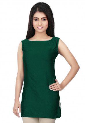 Solid Color Cotton Silk Kurti in Dark Green
