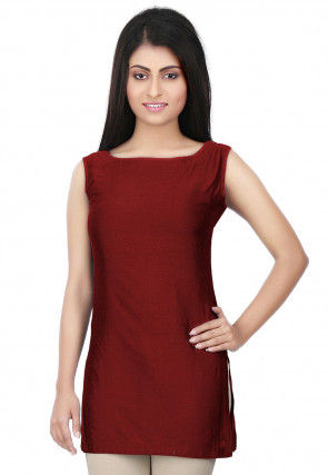 Solid Color Cotton Silk Kurti in Maroon